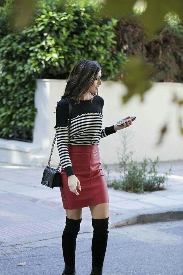 #red #black #skirt