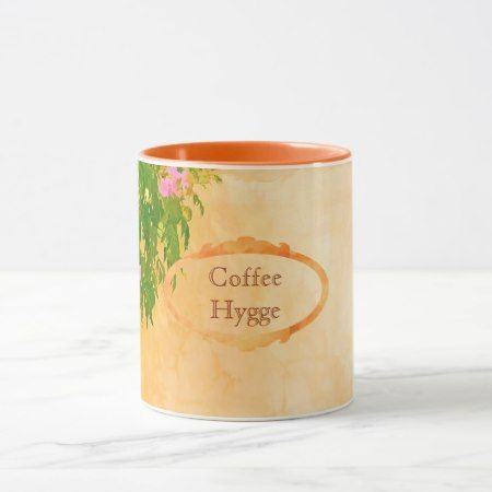 Coffee and Hygge pink roses on sunny garden wall Mug - tap, personalize, buy right now!