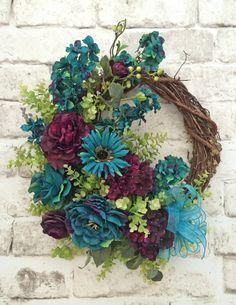 Teal & Purple Front Door Wreath, Summer Wreath for Door, Summer Door Wreath,Silk Floral Wreath,Grapevine Wreath,Outdoor Wreath,Spring Wreath