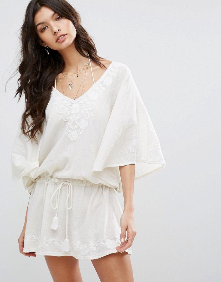 Star Mela Carla Embroidered Tunic Dress - White
