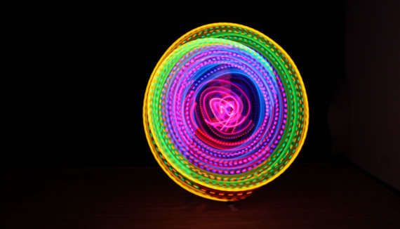 Rave-Ready Neon Toys : rechargeable double rainbow led hula hoop