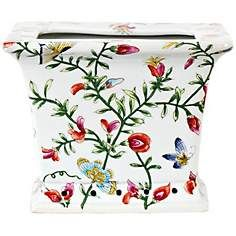 Chinese Floral Porcelain Square Cachepot