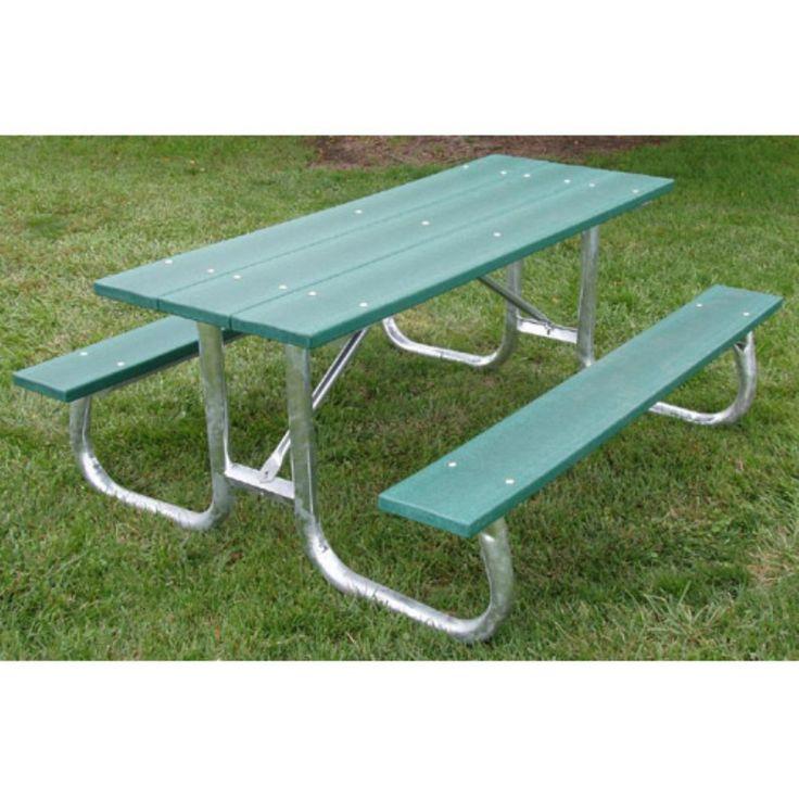Outdoor Jayhawk Plastics Commercial Maintenance-Free Recycled Plastic Picnic Table - PB 6CEDGFPIC