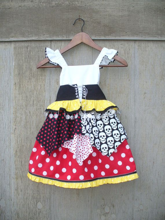Custom girls Minnie Dot Princess Pirate for sizes 6mo to 10 great for halloween, magical cruise or a trip to the happiest place on earth (I am SO ordering one for Haley from @Sue Woo for our cruise in October!!) $60.00