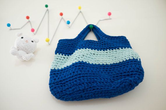 Crochet bag-Handmade bag-Seaside bag-Blue bag-Striped by arceb