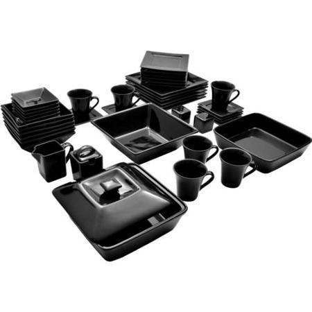 45 Piece Black Dinnerware Set Square Banquet Plates Dishes Bowls Kitchen Dinner  #10StrawberryStreet