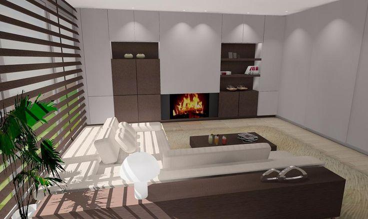 Ontwerp openhaard houtgestookt, realistische 3D voorstelling, ontwerp Dirk Lievens Interieurarchitect