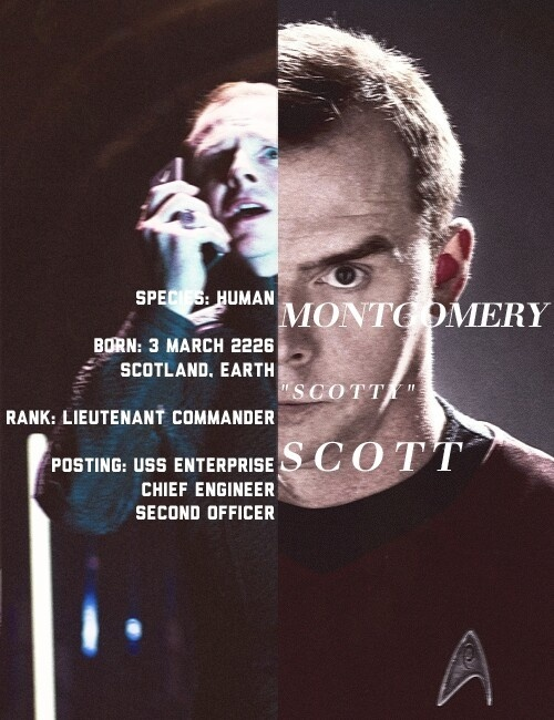 Scotty. If I had to chose a favorite Star Trek character, it would be him!