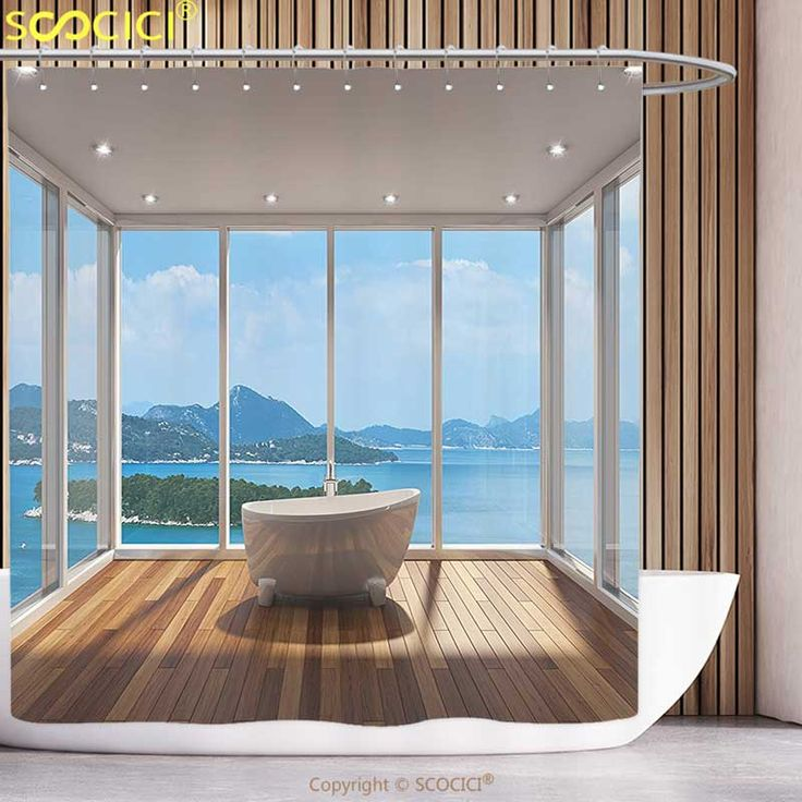 Fun Shower Curtain Bathroom Decor Minimalist Design Bathtub With Relaxing Scenery Of Islands White Light Brown