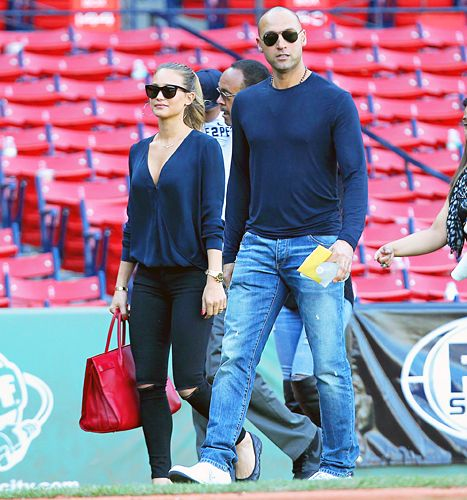 Derek Jeter and Hannah Davis at the Yankees' final games at Fenway Park.