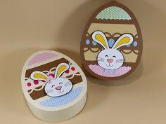 Caixas no formato de ovo da Páscoa para decorar e presentear seus amigos. É uma ótima opção para presentear com bombons, guloseimas e ovinhos de chocolate. Páscoa - Festa da Páscoa.