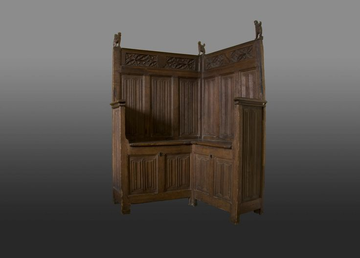 Extremely rare corner bench, late Gothic circa 1480 -1500, Marhamchurch antiques