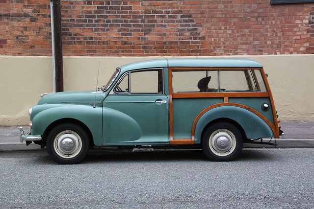 Green Morris Minor Traveller first car hb travelled in 'cept it was blue