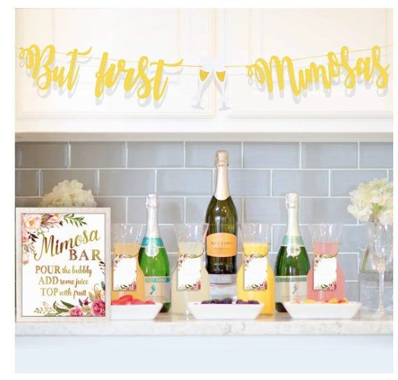 Mimosa Bar Sign Banner Decorations Bridal Shower Bubbly Bar Champagne Brunch Baby Shower Wedding Engagement Birthday Party Graduation Fiesta Bubbly Bar Wedding Bubbly Bar Mimosa Bar Sign