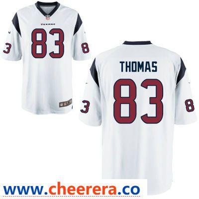 Hot Men's Houston Texans #83 Jordan Thomas White Road Stitched NFL Nike  for cheap