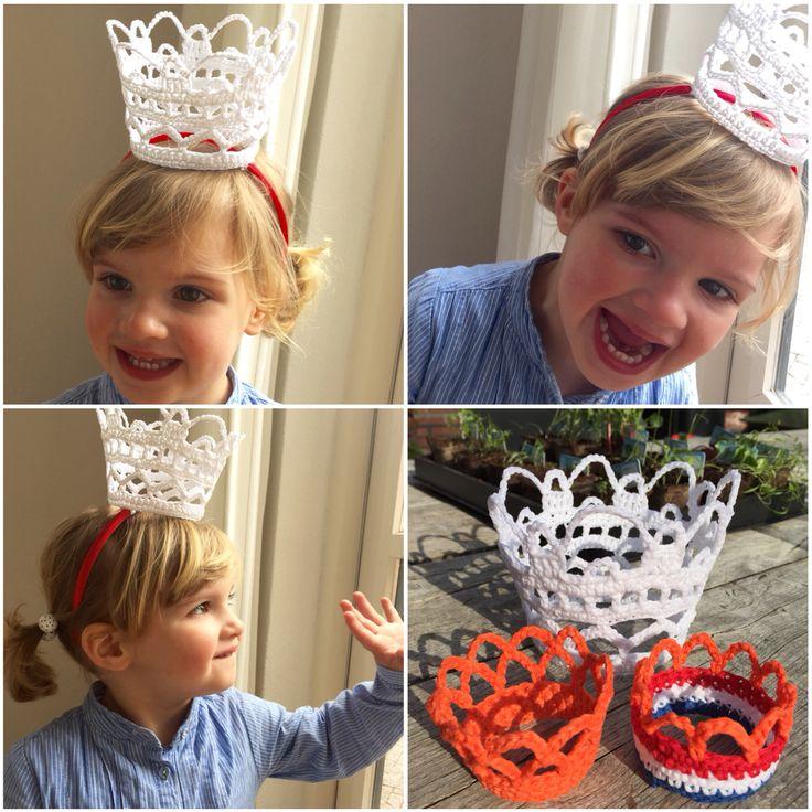 Kroontjes gehaakt voor Koningsdag, mijn meisje is er blij mee!