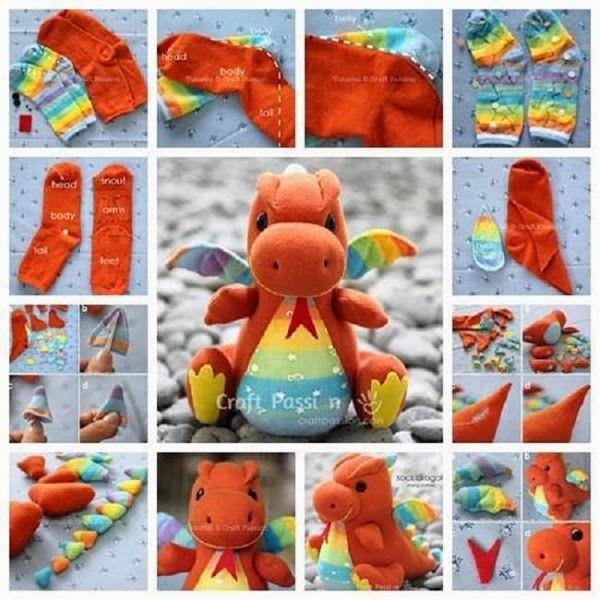 Una monada de Dragón para reciclar calcetines ^_^