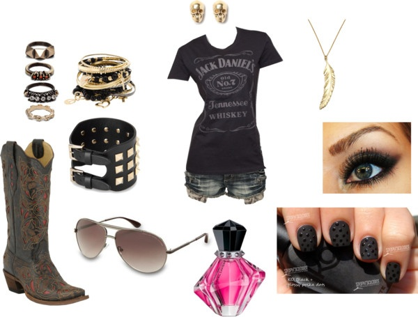 """Rockstar meets Rodeo"" by abbycriswell ❤ liked on Polyvore"