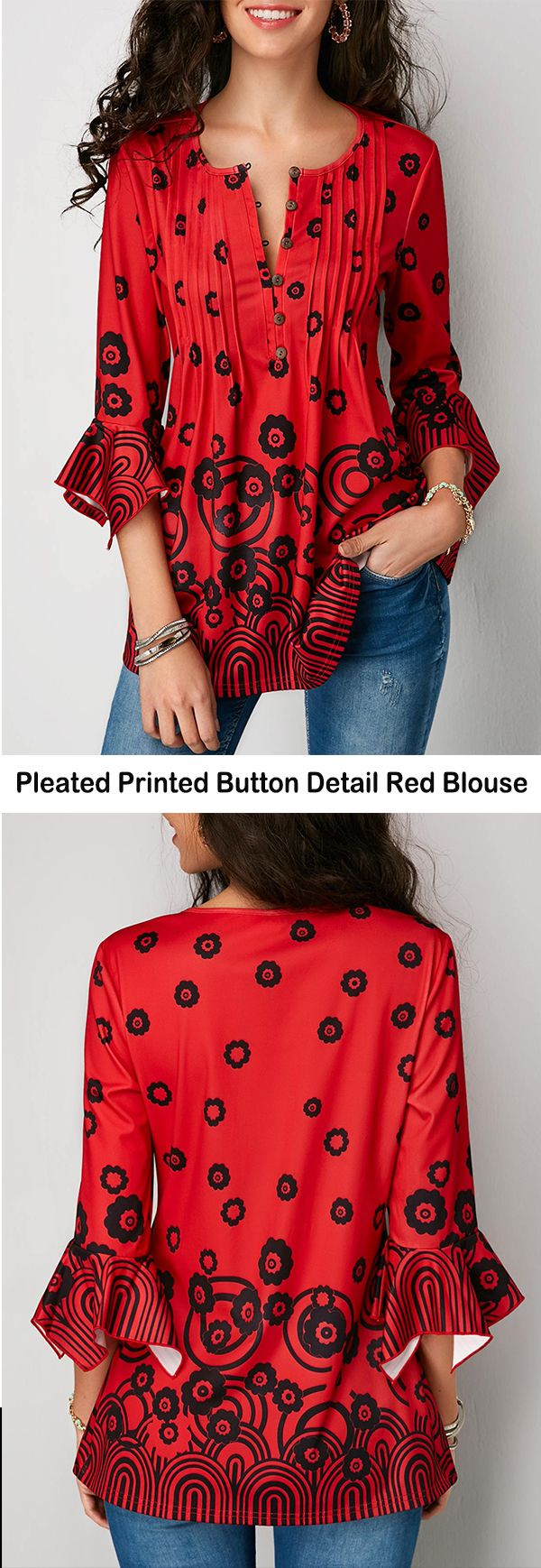 Pleated Printed Button Detail Red Blouse   #liligal #blouse #shirts #top #womenswear