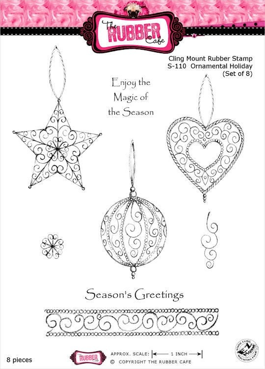 Ornamental Holiday Rubber Stamp Set from The Rubber Cafe