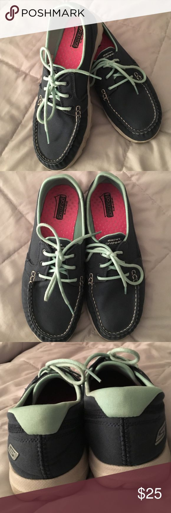 """Skechers on the go shoes Navy blue Skechers. Laces are aqua. Excellent condition. On the go, super comfortable shoes with """"goga mat"""" technology. Size 8 Skechers Shoes Sneakers"""