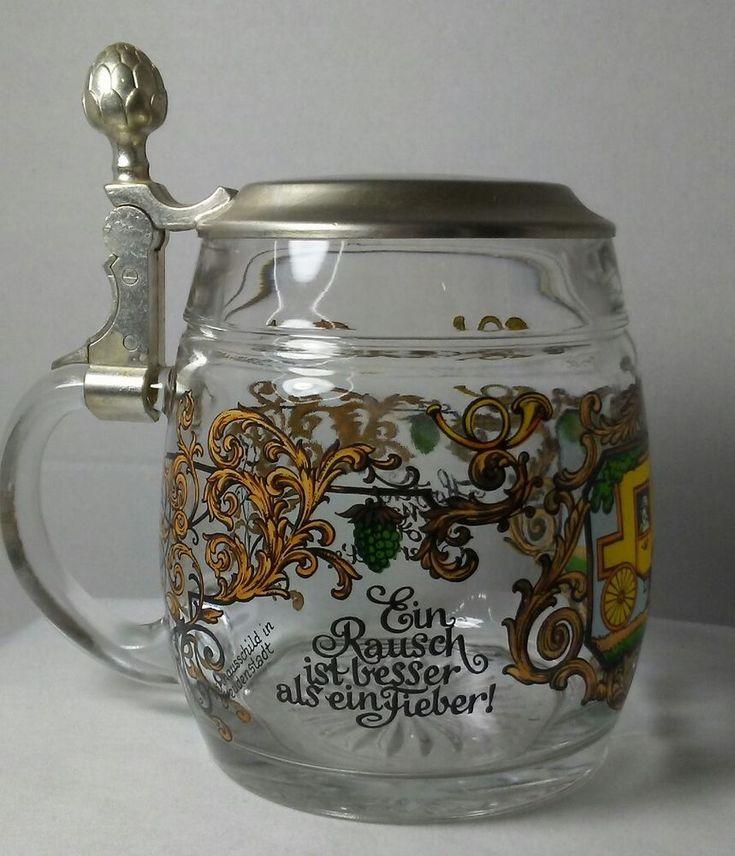 Vintage Original BMF Bierseidel Glass Lidded Beer Stein W.Germany