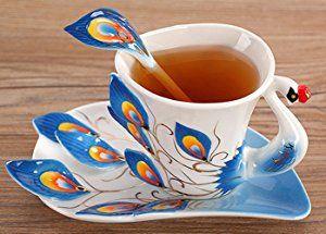 Amazon|DragonOne 孔雀 コーヒーカップ 3点セット 優雅 上品 お洒落 ティータイム プレゼント に (緑)|カップ&ソーサー オンライン通販