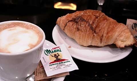 Cappucino and Cornetti...Italian breakfast of champions.   Google Image Result for http://www.examiner.com/images/blog/wysiwyg/image/cornetto.jpg