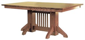 """33% OFF Amish Furniture - Hand Crafted Shaker and Mission Furniture Online Outlet Store: 48"""" x 72"""" Mission Pedestal Table: Cherry"""