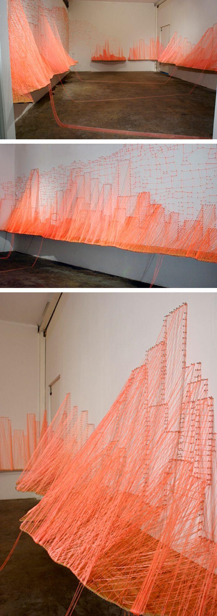 Aili Schmeltz - The Magic City String Art Installation (via All Sorts of Pretty)