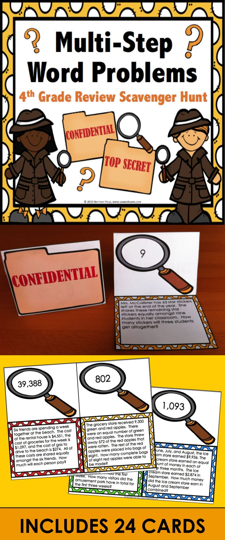 These scavenger hunt cards get students up and moving around the room as they practice solving multi-step word problems. Included are 24 challenging word problem cards that require students to use their addition, subtraction, multiplication, and division skills. This is a fun and exciting way to get in some additional math practice before the summer begins!