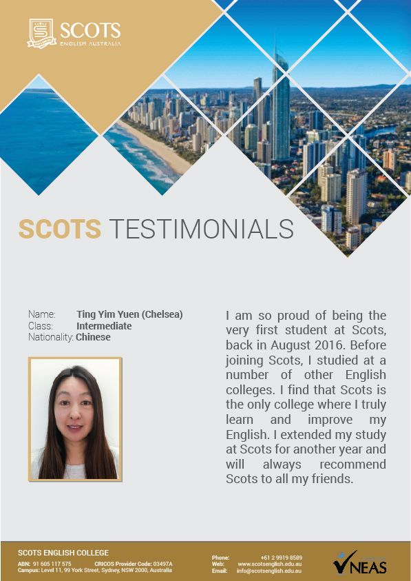 Testimonial from Chelsea (Chinese) at Intermediate class  #ELICOS #Englishlanguagecourse #ScotsEnglishCollege #Testimonials
