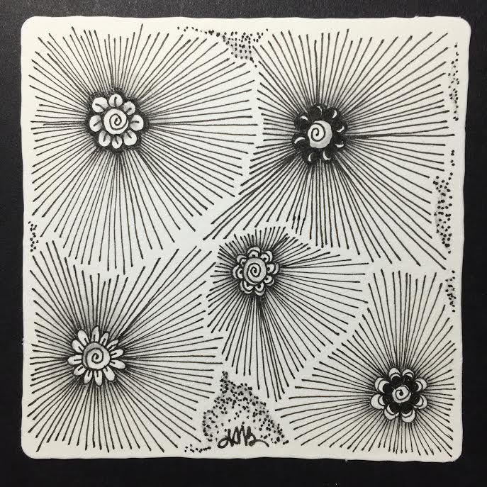 Tickled To Tangle: Tangling Radiant Sooflowers by Adele Bruno