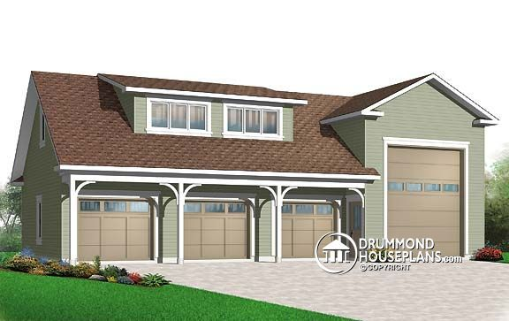 Garage plan w3986 fabulous four bay three deep auto bays for 2 bay garage plans