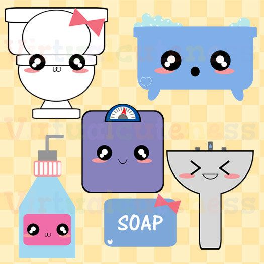 Restroom Clip Art - Bathroom Clipart, Toilet, Planner, Cute Clipart, Kawaii Clipart, Scrapbooking, Chibi, Free Commercial and Personal Use
