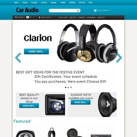 CS-Cart 4 Responsive Theme Fjords is specially designed for Car Audio Store. Selling Car Audio from world famous brands: Pioneer, Garmin, Lpine, JVC Professional, Kenwood, Sony, Tomtom, Rockford Fosgate,  Toshiba, Sanyo, Hitachi, Clarion, Sharp, Eclipse. Car Audio look beautiful in this online Store.