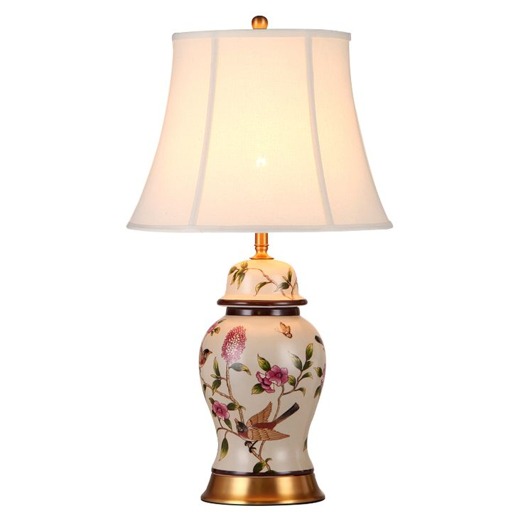 High End Pastoral Modern Hand Painted Chinese Ceramic Fabric E27 Dimmerable Table Lamp Fro Living Room Wedding H 60/70cm 1087