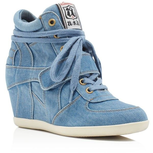 Ash Bowie Lace Up High Top Wedge Sneakers ($185) ❤ liked on Polyvore featuring shoes, sneakers, blue, ash sneakers, denim sneakers, wedge sneakers, blue sneakers and ash shoes