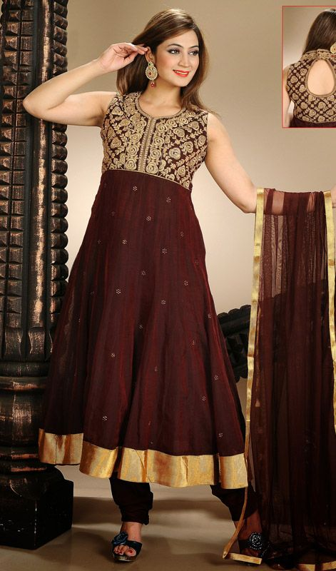 Burgundy Chanderi Long Length Anarkali Suit Impress the masses at a strike of an eye dolled up in this burgundy chanderi long length Anarkali suit. The appealing resham and stones work throughout suit is awe-inspiring. #LongAnarkaliSuitsOnline #DesignerSalwarKameezOnline