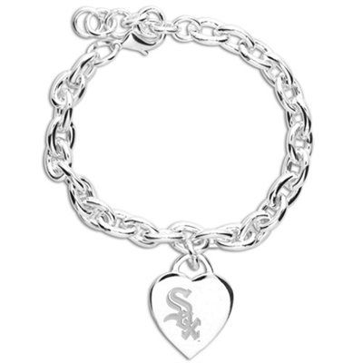Chicago White Sox Ladies Silver Heart Charm Bracelet