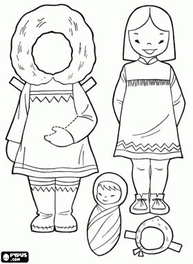 Inuit Paper doll --online coloring, but it has an option to print outline that prints the right size w/out color!