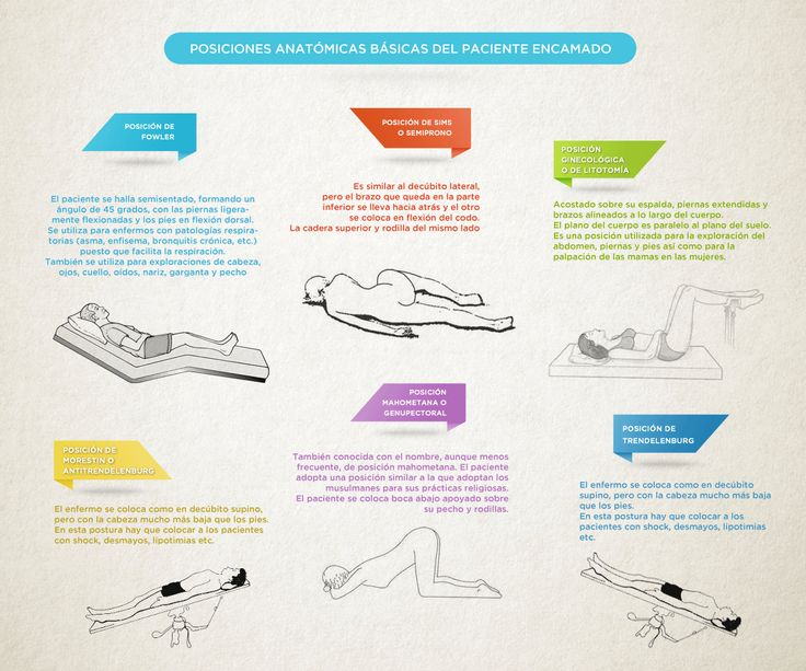 Las posiciones anatómicas básicas del paciente encamado, en una infografía