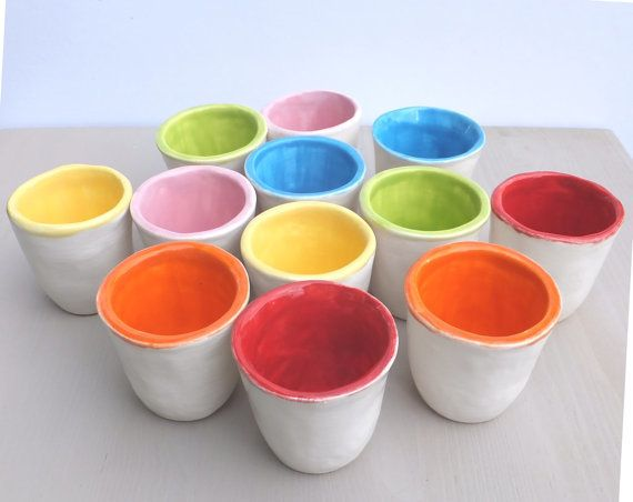 Ceramic egg cups pottery egg cup blue orange pink green red 163 13
