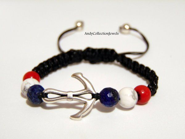 Charming Men's Black Macrame Bracelet with Silver-Tone Anchor and Gemstones
