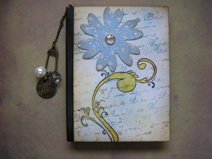 Blue Flower Notes - hand decorated notebook. via Etsy.