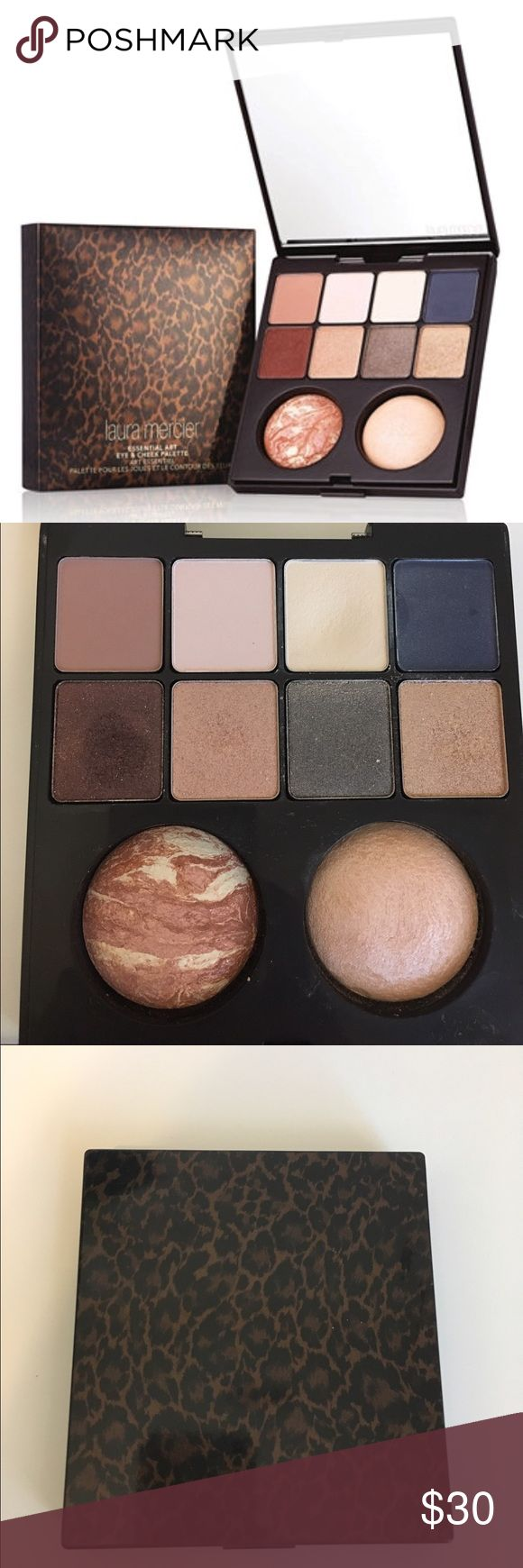 Laura Mercier Holiday Eye and Cheek palette Limited edition Palette valued at $155 includes 8 highly pigmented eye shadows and a matte radiance baked powder highlighter and baked blush illumine in rose. Used about a dozen times. Hinge is broken, but it still latches just fine! laura mercier Makeup Eyeshadow