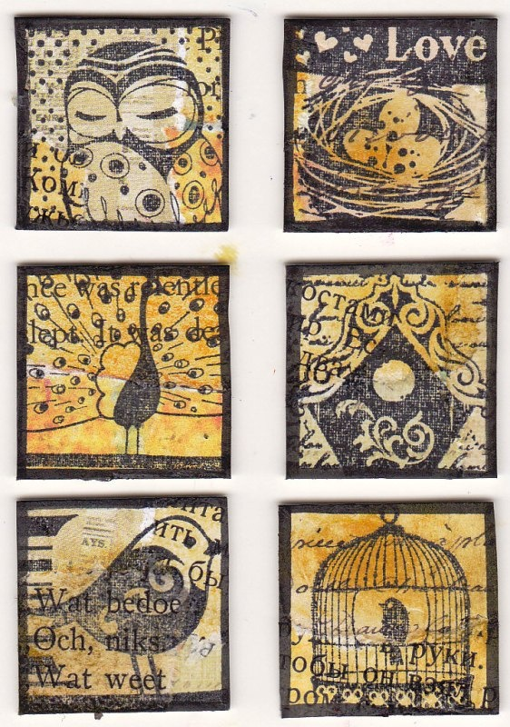 Bird inchies - I've discovered that in addition to Artist Trading Cards there are these things called inchies.