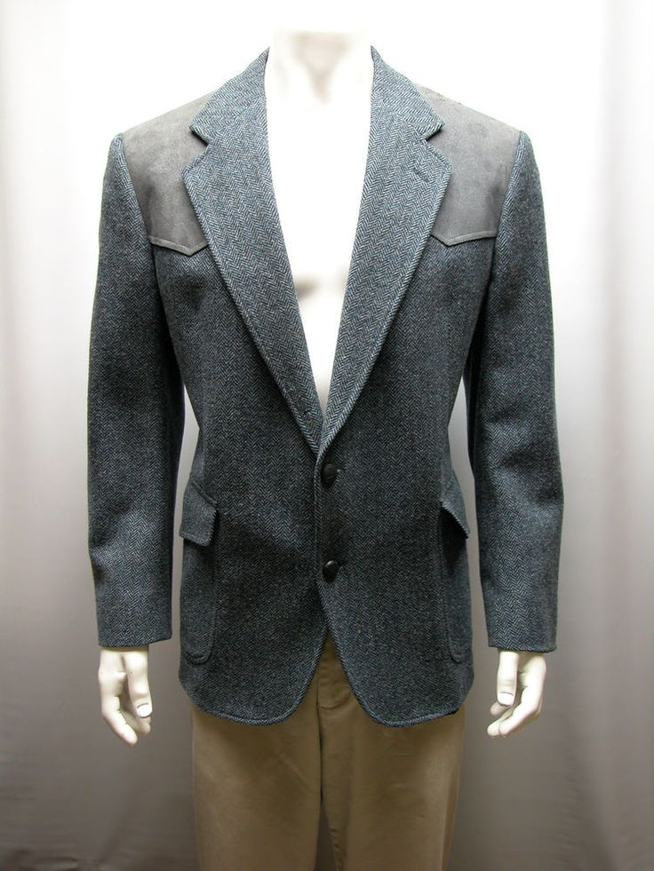 Pendleton Mens Blazer Size 42 Elbow Patch Gray Western