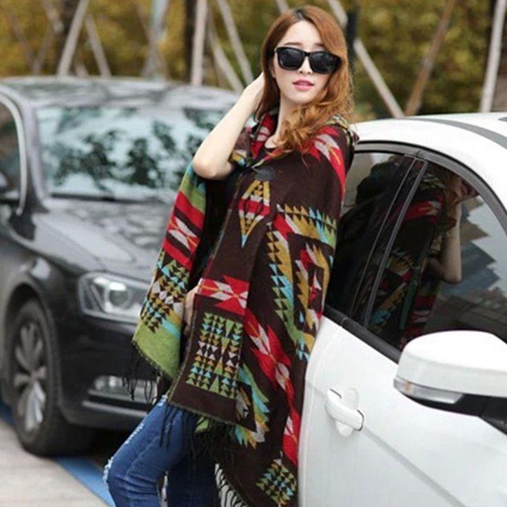 Women Bohemian Plaid Cape Poncho Wrap Blanket Cloak Shawl Scarf Cardigan Hooded