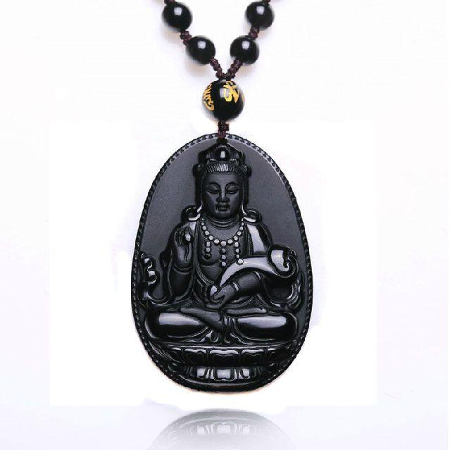 Natuurlijke obsidiaan ketting mode zwarte guan yin ruyi hanger voor vrouwen mannen vintage fijne jade sieraden bijouterieën hh091109 55* 35mm(China (Mainland))